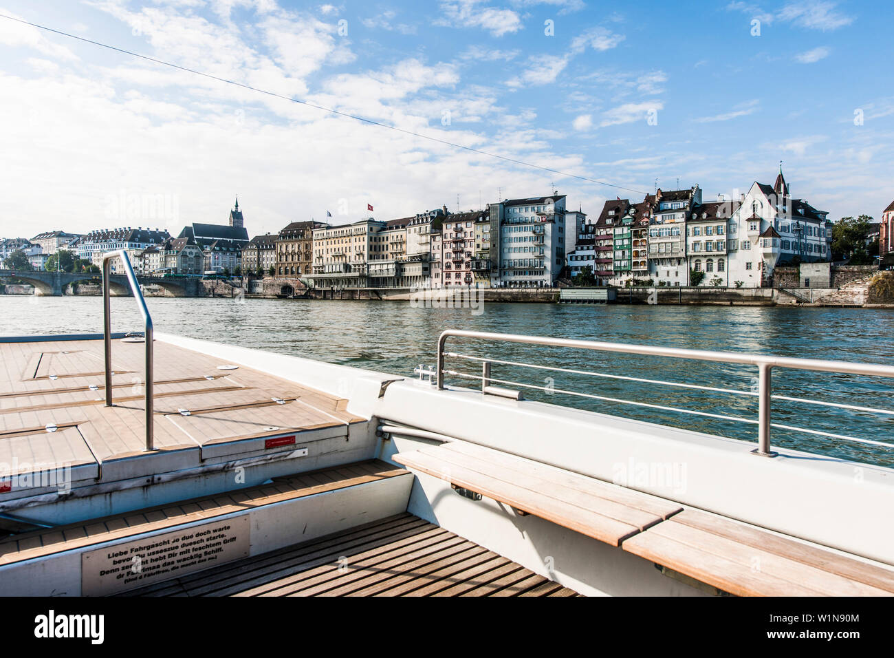 View from a ferry to Rhine riverbank, Basel, Canton of Basel-Stadt, Switzerland Stock Photo
