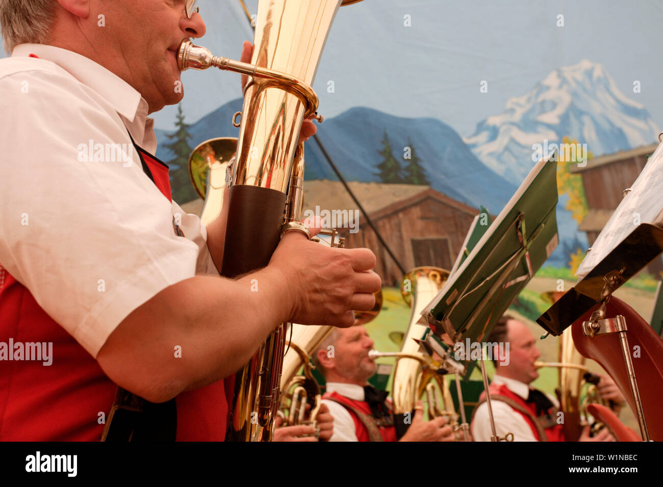 Brass Band and festival with folk music, Lofer, Salzburg, Austria - Stock Image