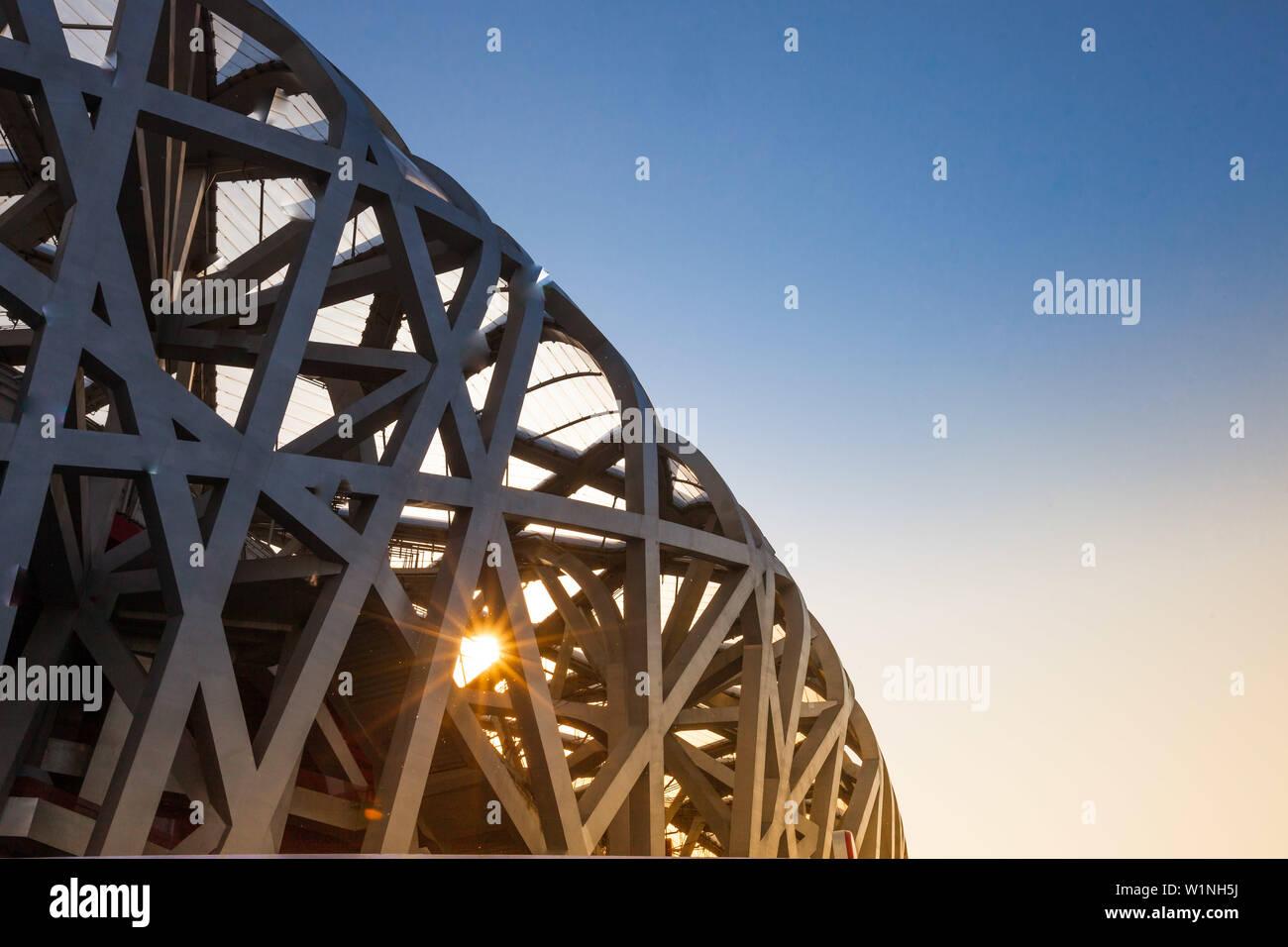 Bird nest stadion, Olympic Park, Beijing, China Stock Photo