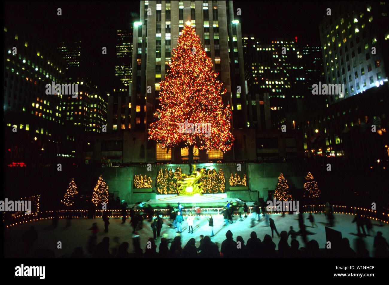 New York Weihnachten.Weihnachten Eislaufbahn Am Rockefeller Center Manhattan