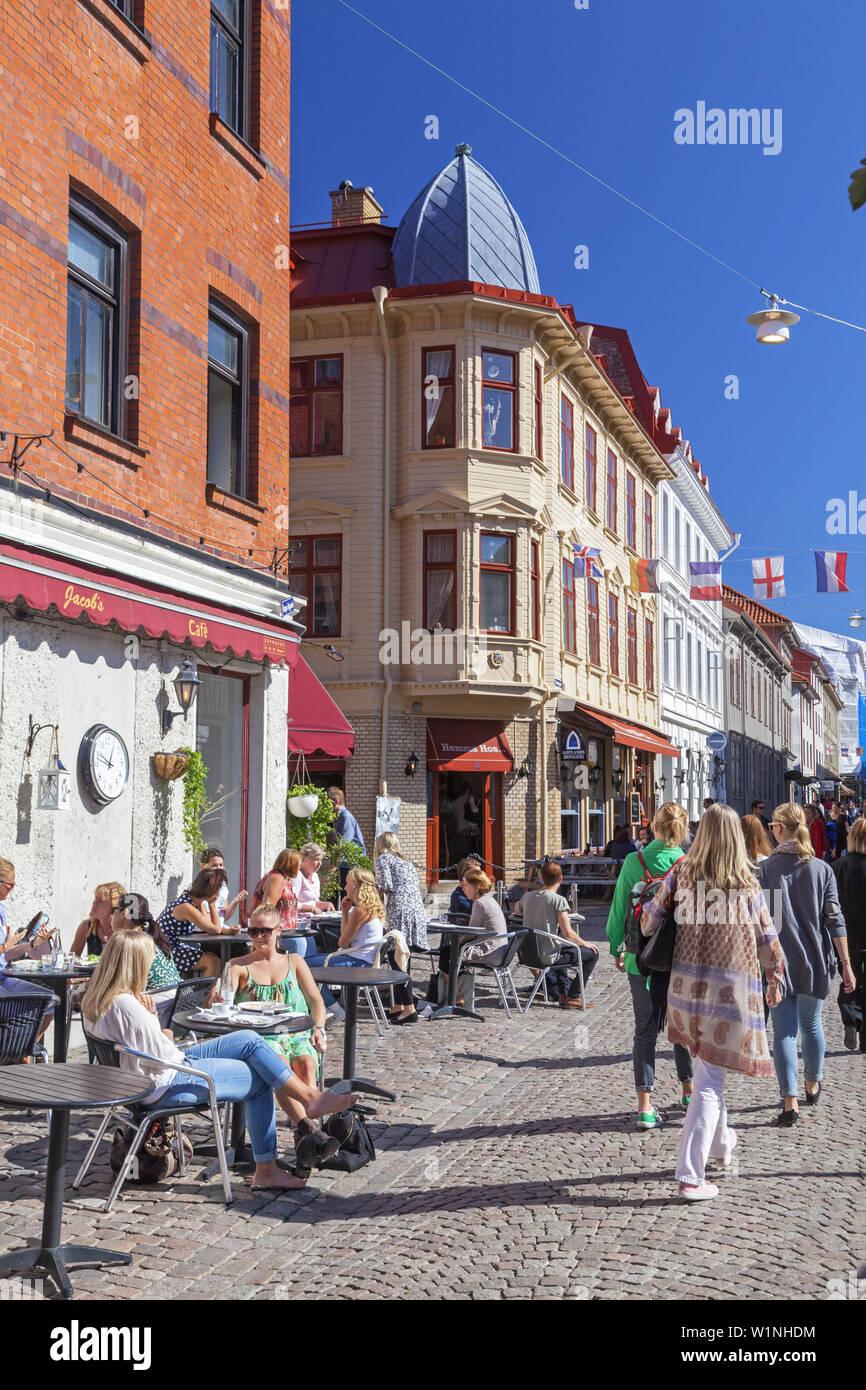 Cafe In The Pedestrian Zone Haga Nygata Im District Haga Gothenburg Bohuslan Gotaland Vastra Gotalands Lan South Sweden Sweden Scandinavia Nor Stock Photo Alamy