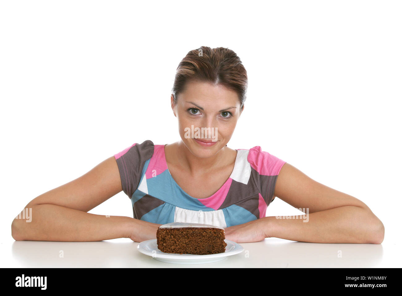 Mid adult woman with a piece of chocolate cake, Styria, Austria - Stock Image