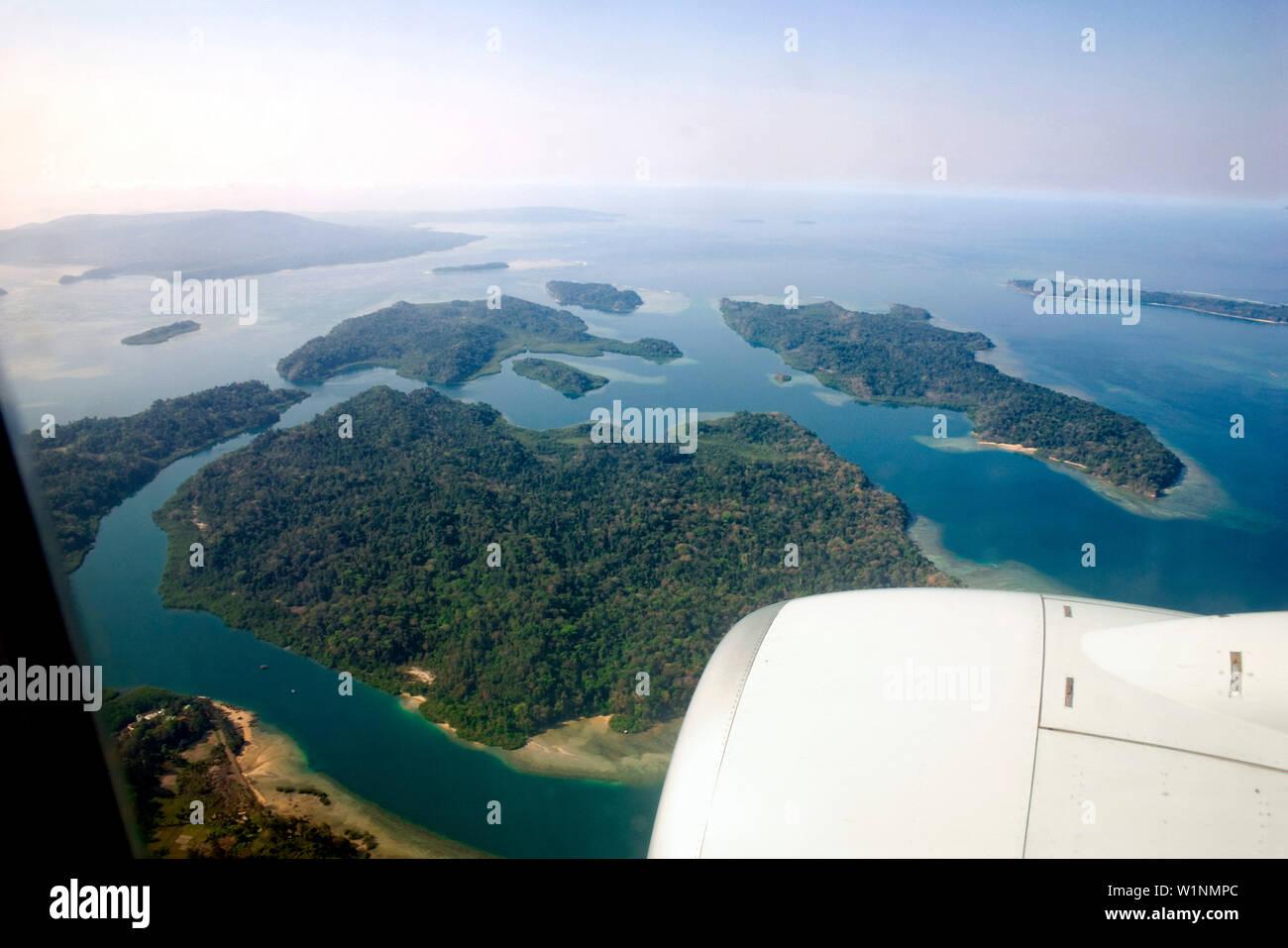 Aerial Photo, Andaman Islands, Andaman Sea, India, Inselgruppe der Andamanen Ausschnitt, , Golf von Bengalen, Andamanen See, Indien, im April 2004 And - Stock Image