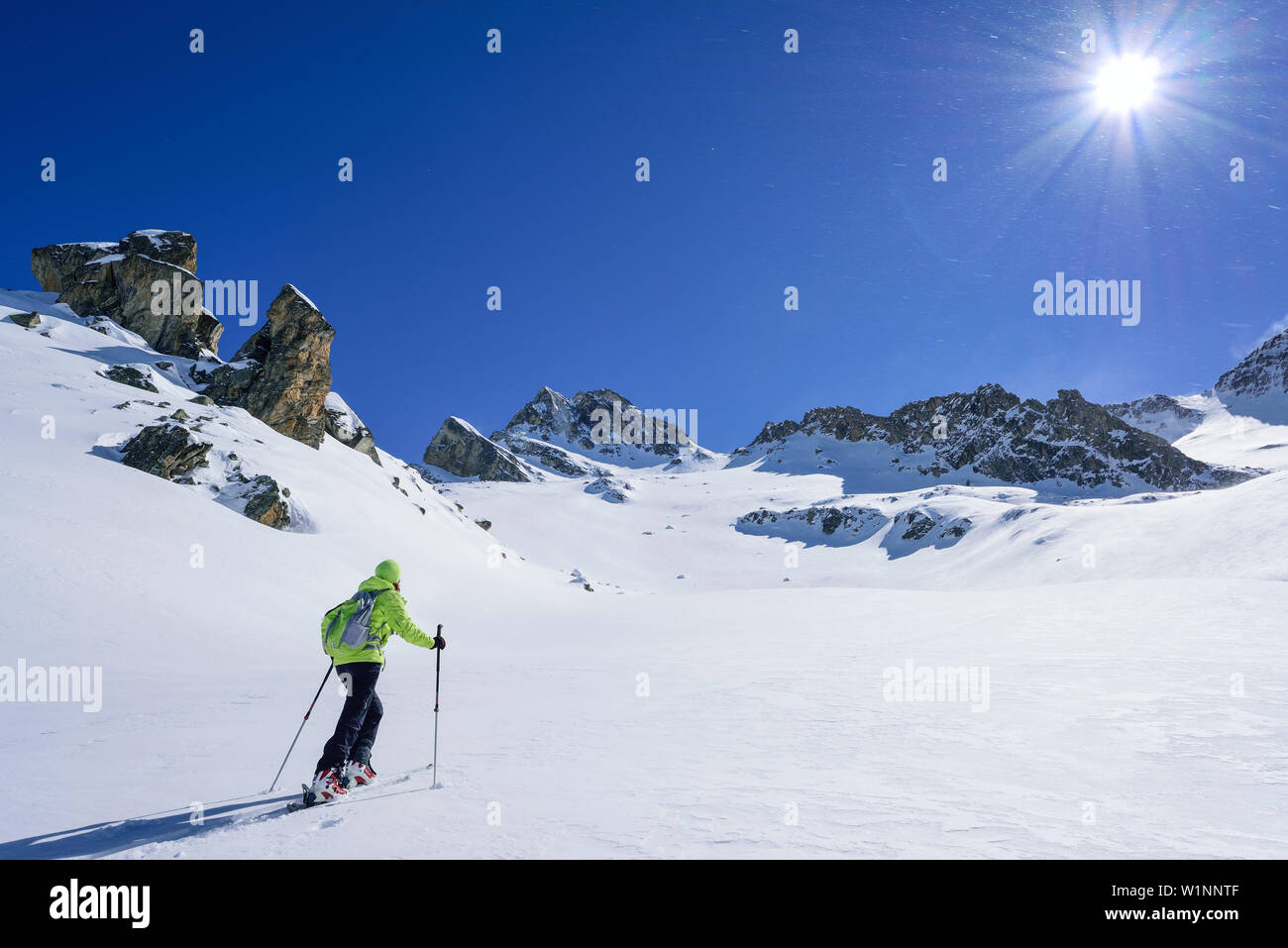 Woman back-country skiing ascending towards Colle di Vers, Rocca La Marchisa in the background, Colle di Vers, Valle Varaita, Cottian Alps, Piedmont, Stock Photo