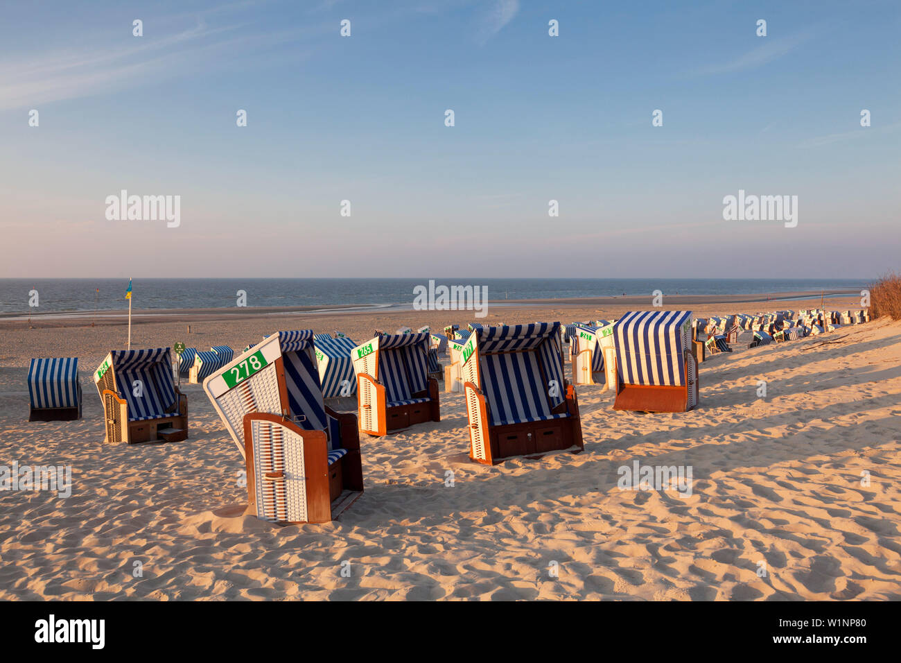 Beach chairs on the beach, Nordstrand, Norderney, Ostfriesland, Lower Saxony, Germany Stock Photo