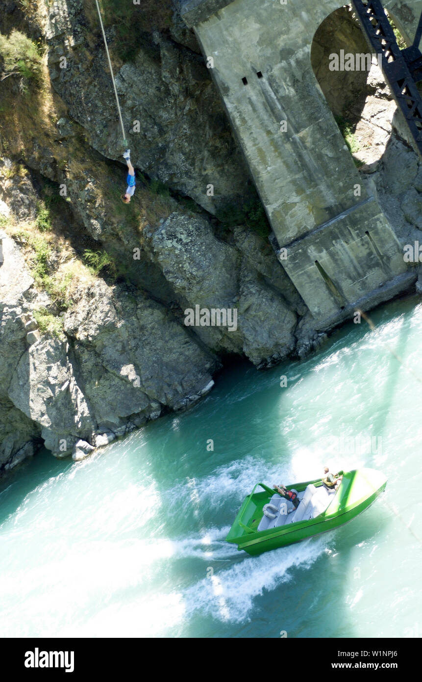 Bungeejumping in newzealand, landscape river Stock Photo