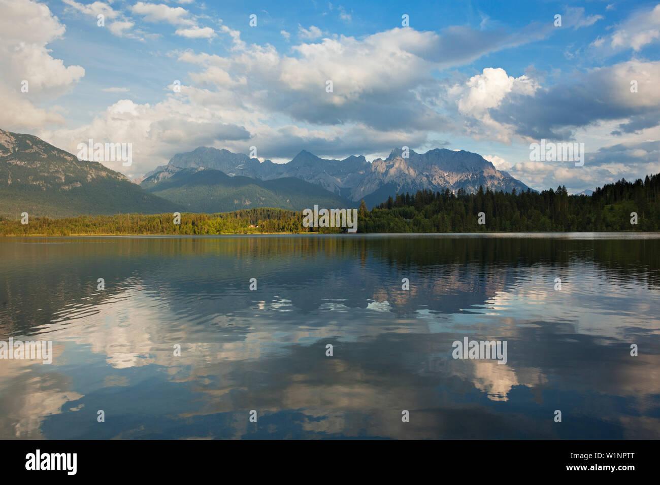 Barmsee, view to Karwendel, Werdenfels region, Bavaria, Germany - Stock Image