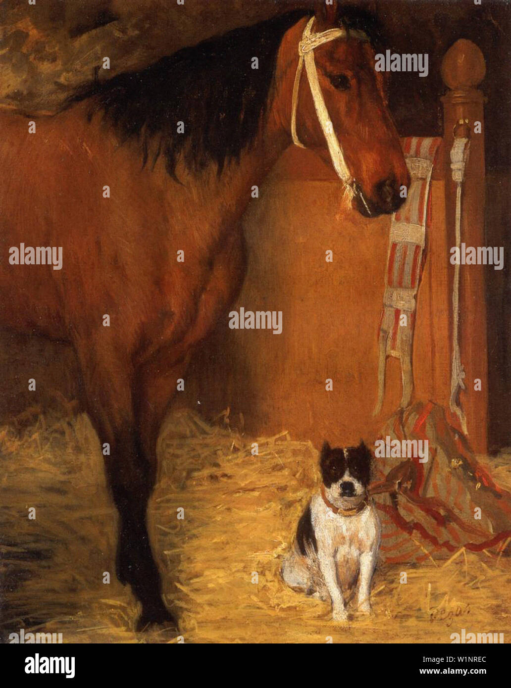 Edgar Degas - At Stables Horse Dog C 1861 - Stock Image