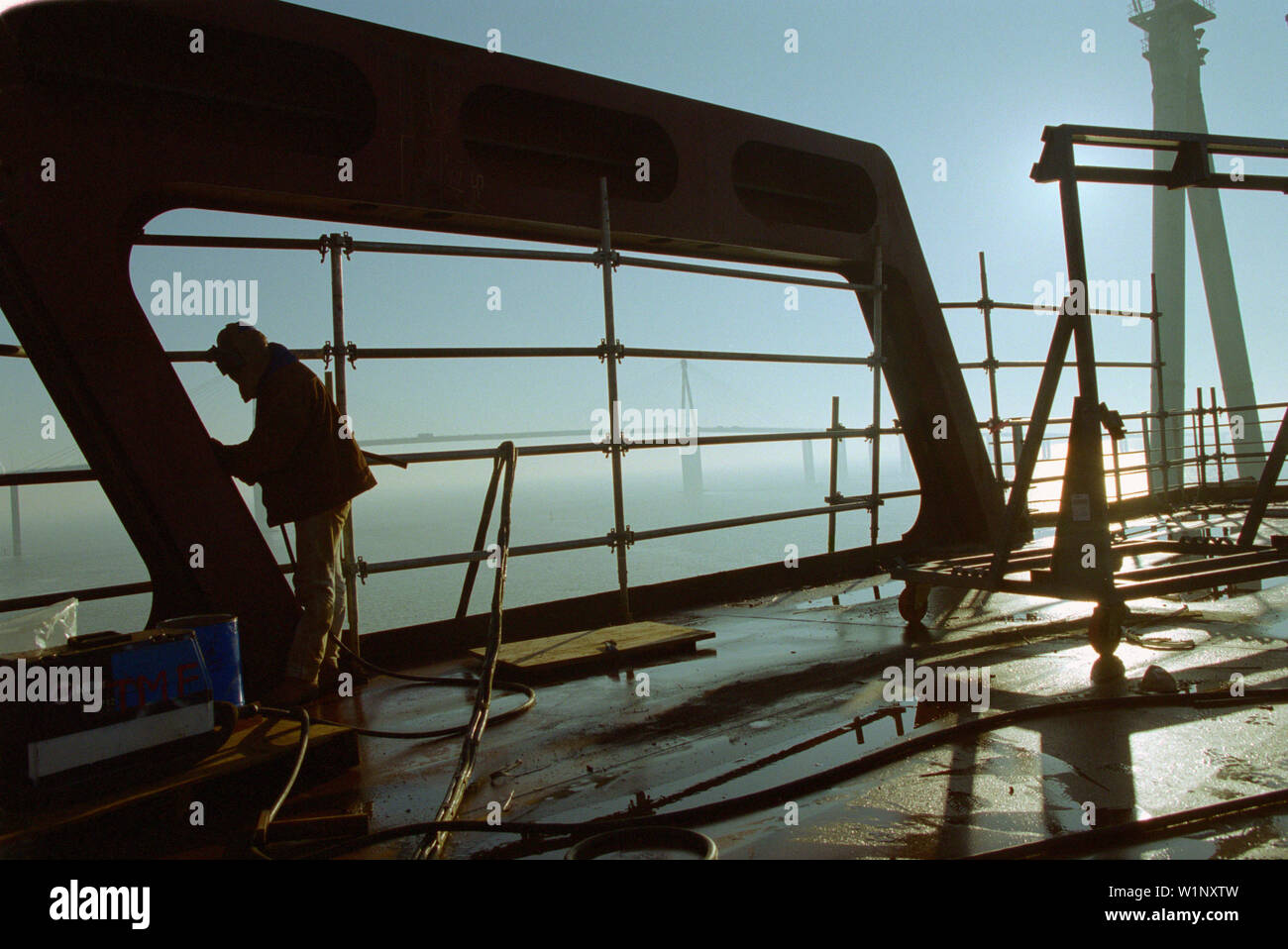 Working, steel construction, dry dock, Queen Mary 2, Saint-Nazaire, France - Stock Image