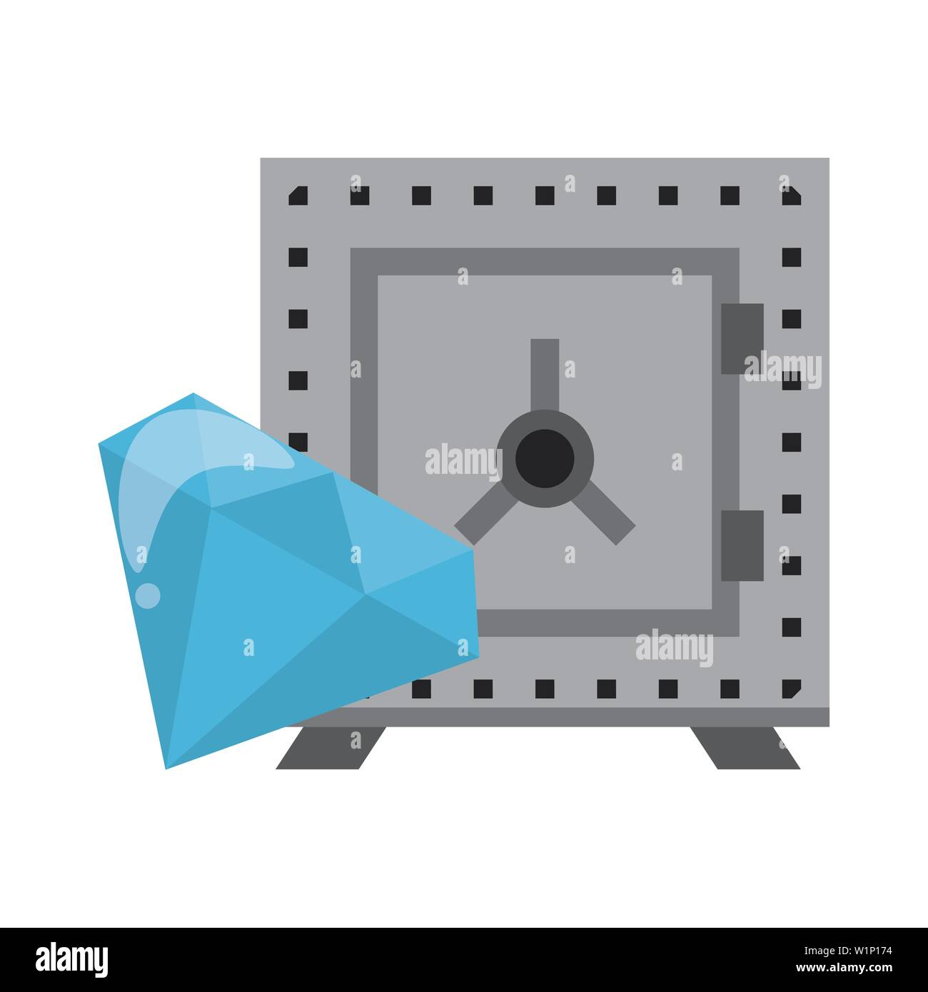 Strongbox and luxury diamond symbols - Stock Image