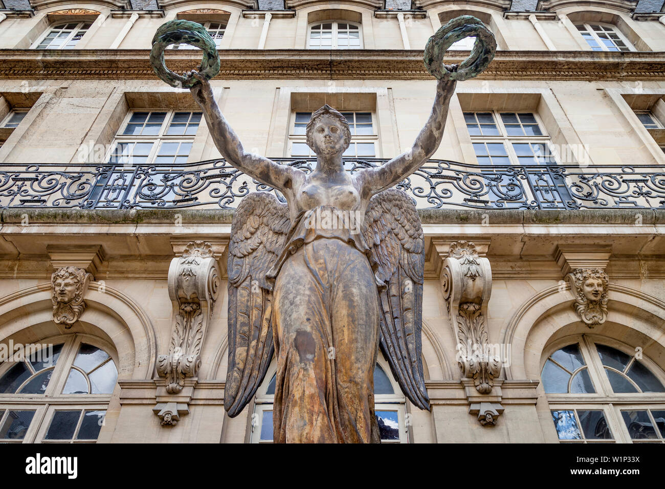 Louis Simon Boizot's 'Victory' Sculpture in the garden of Musee Carnavalet - now the Museum of French History, Marais, Paris France - Stock Image