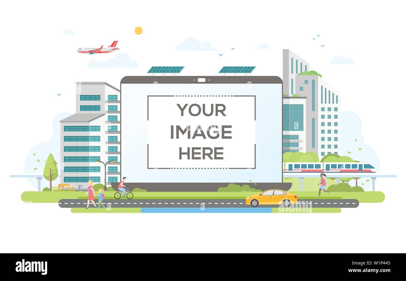 Eco-friendly housing complex - flat design style vector illustration Stock Vector