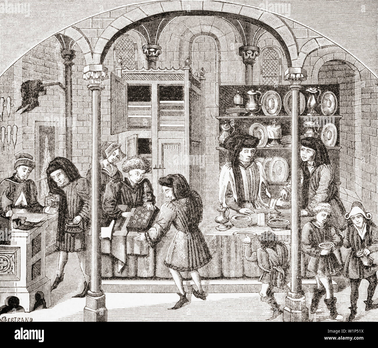 Shops under Covered Market. Goldsmith, Dealer in Stuffs and Shoemaker. After a miniature in Aristotles Ethics and Politics in 15th century translation by Nicholas Oresme - Stock Image