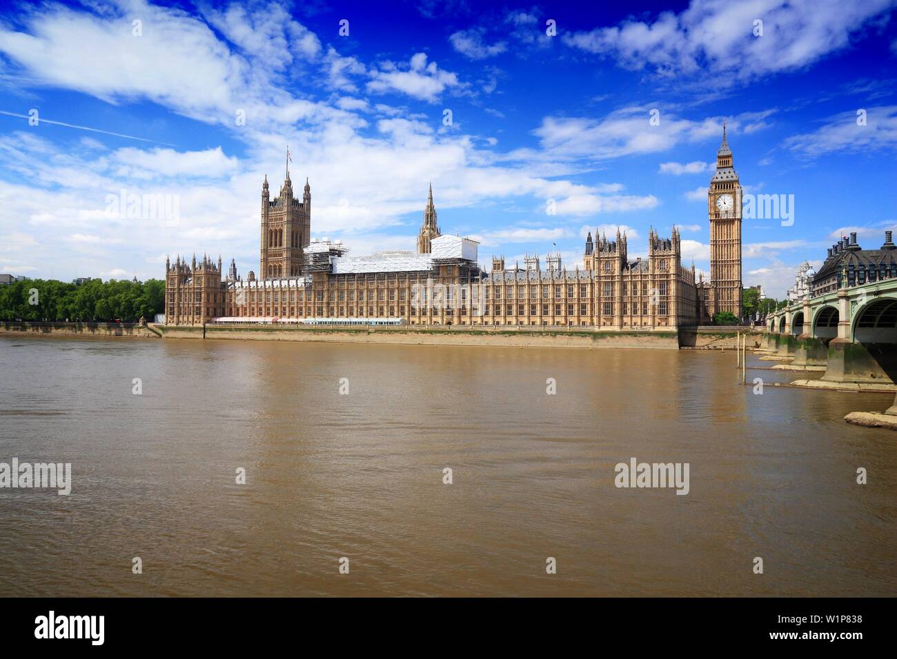 Houses of Parliament and Westminster Bridge in London, UK. - Stock Image