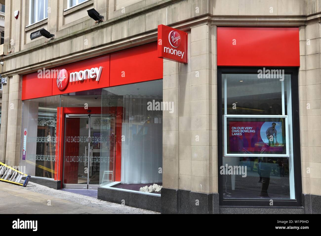 SHEFFIELD, UK - JULY 10, 2016: Virgin Money branch in Sheffield, Yorkshire, UK. The banking and mortgage financial specialist Virgin Money is part of - Stock Image