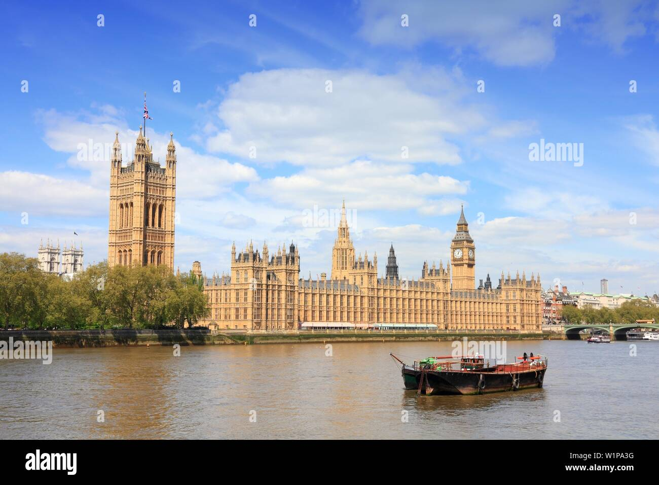 London, England - Palace of Westminster with Big Ben clock tower. - Stock Image