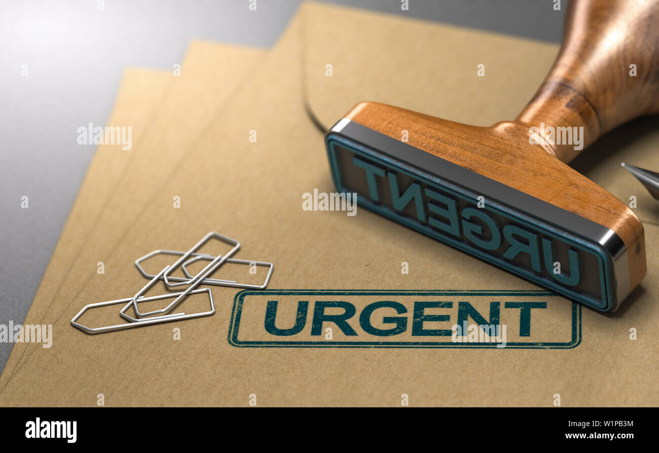 3D illustration of three envelopes and a rubber stamp with the word urgent stamped on the first one. - Stock Image