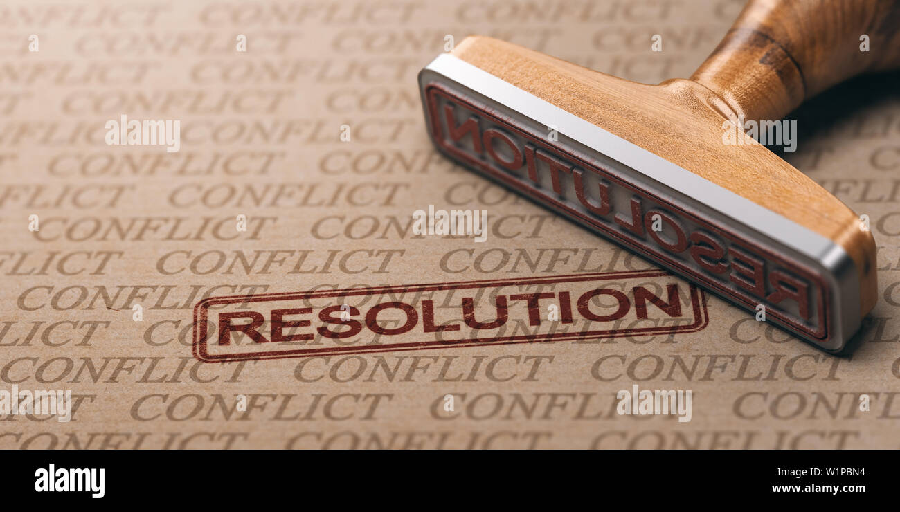 3D illustration of a rubber stamp over a paper background with many watermarks. Conflict resolution concept. - Stock Image