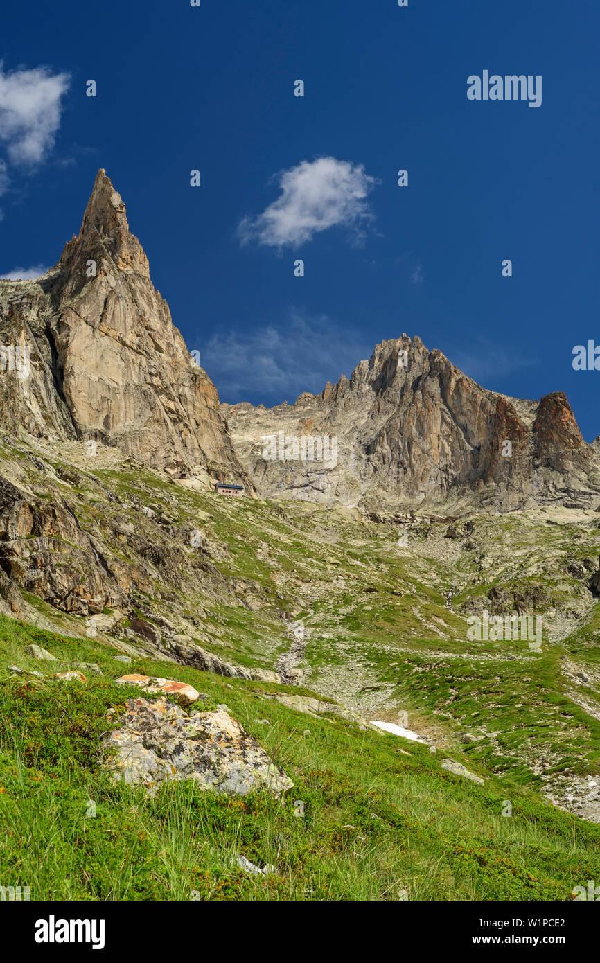 The Aiguille dibona and AIGUILLES Orientale you sore Iller, Ecrins, Ecrins National Park, Dauphiné, Dauphiné, Hautes Alpes, France - Stock Image