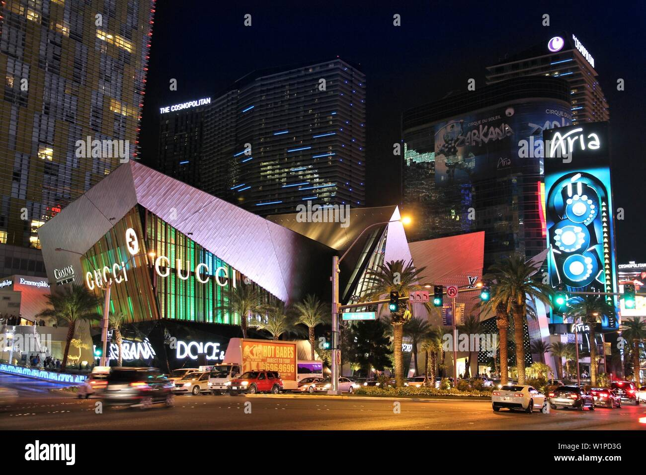 LAS VEGAS, USA - APRIL 13, 2014: Traffic at the Strip in Las Vegas. 15 of 25 largest hotels in the world are located at the strip with more than 60 th - Stock Image