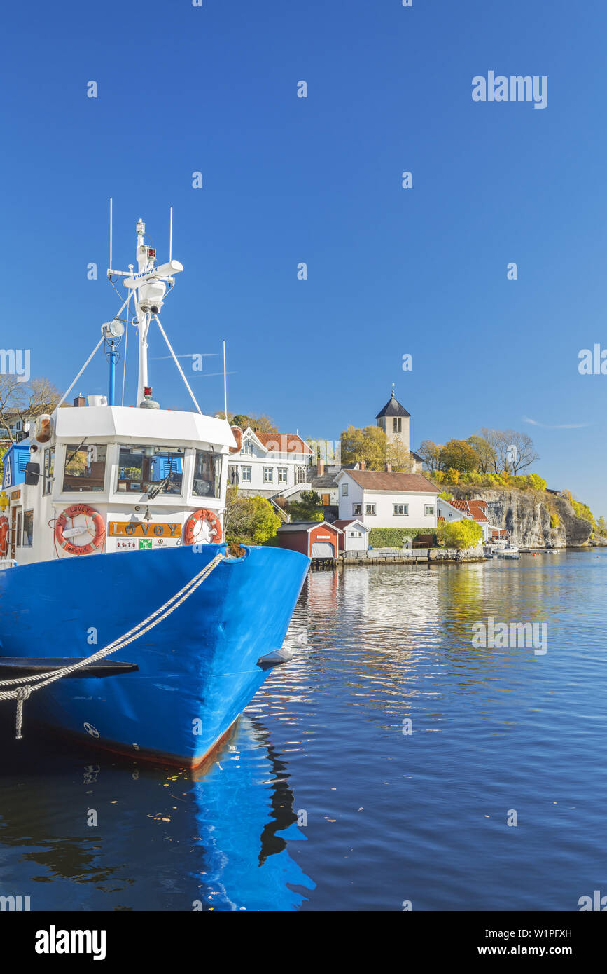 Boat in the harbour of Brevik on the isle Sylterøya, Porsgrunn, Telemark, Østlandet, Southern Norway, Norway, Scandinavia, Northern Europe, Europe Stock Photo