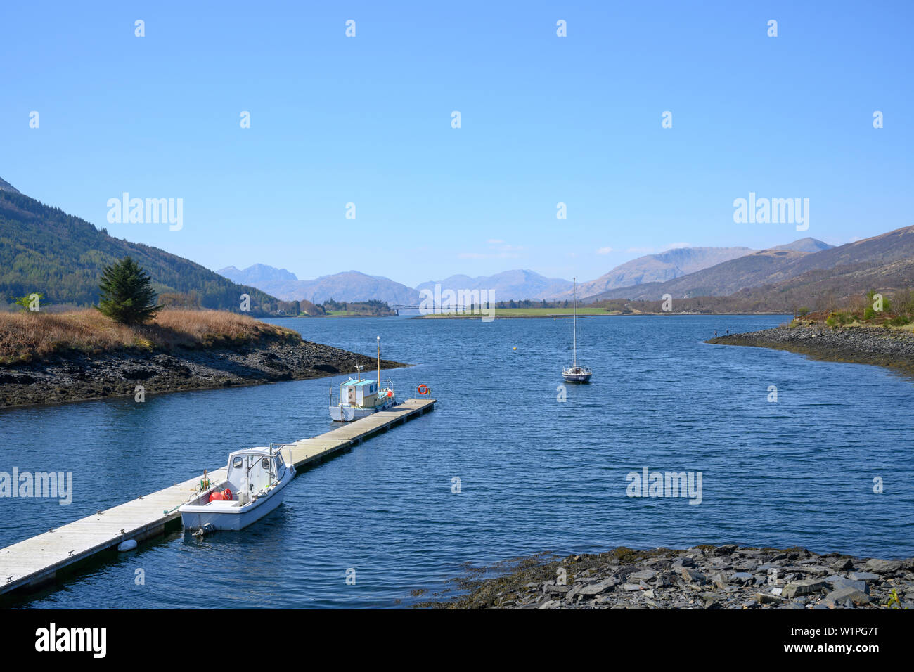 View of Loch Leven from Ballachulish near Glencoe in Northern Scotland Stock Photo