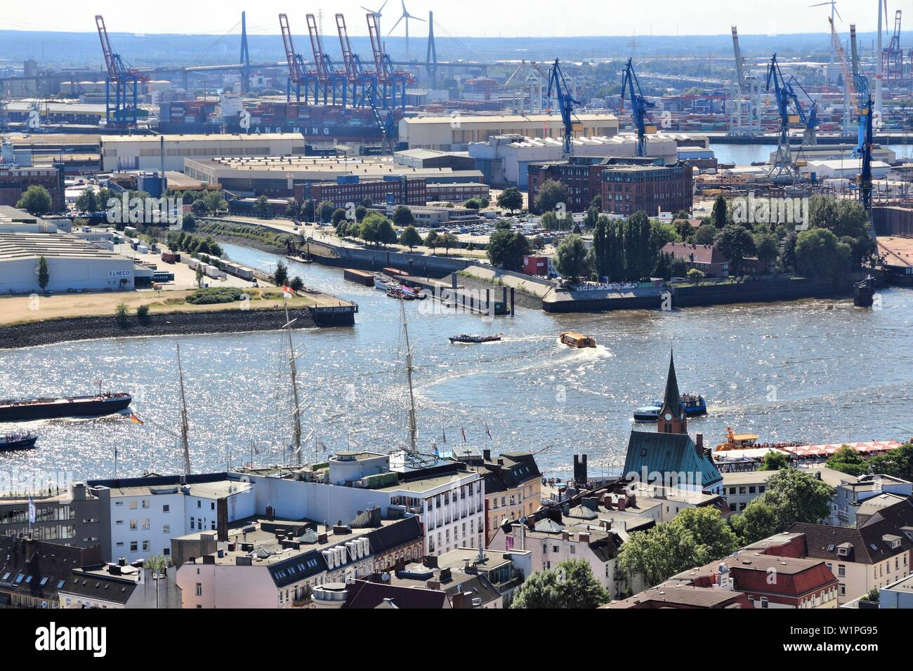 HAMBURG, GERMANY - AUGUST 28, 2014: Aerial view of Port of Hamburg in Germany. The seaport is the 15th busiest in the world in terms TEU throughput (2 - Stock Image