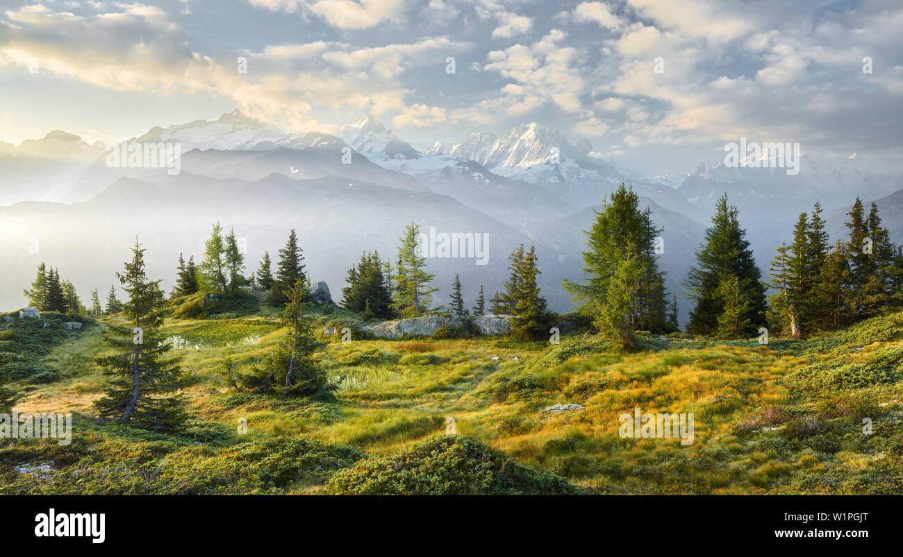 Émosson, Wallis, Schweiz (Vordergrund), Aiguille Verte, Haute-Savoie, Frankreich (Hintergrund) - Stock Image