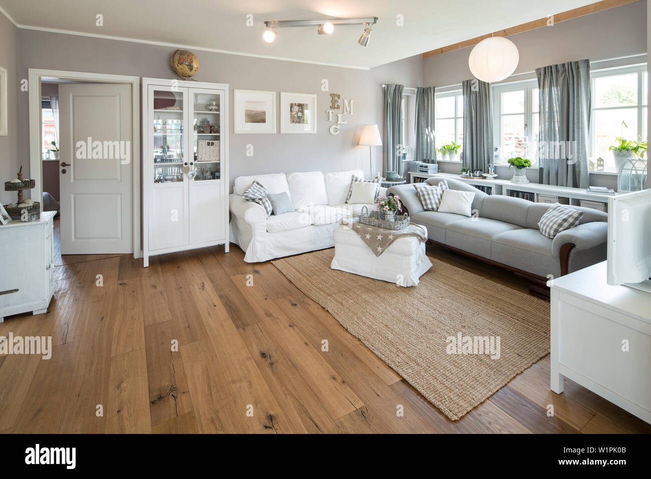Modern Nordic Living Room In Family House With White And