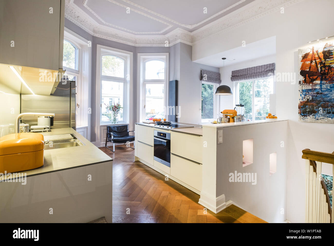 Kitchen In A Art Nouveau Apartment With Modern Facilities Hamburg