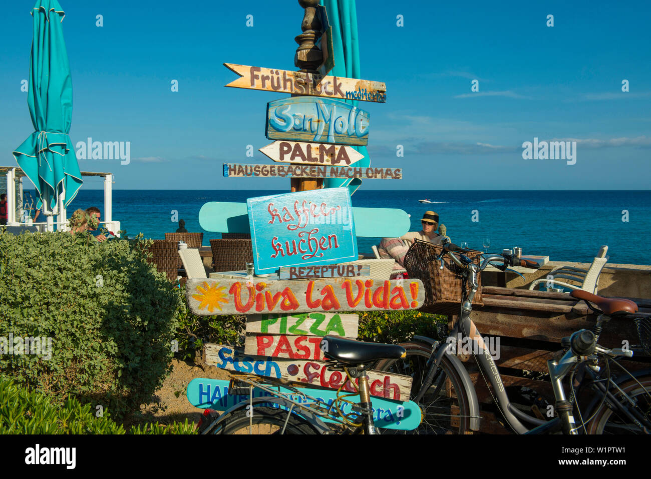 Restaurant, Cala Ratjada, Majorca, Balearic Islands, Spain - Stock Image