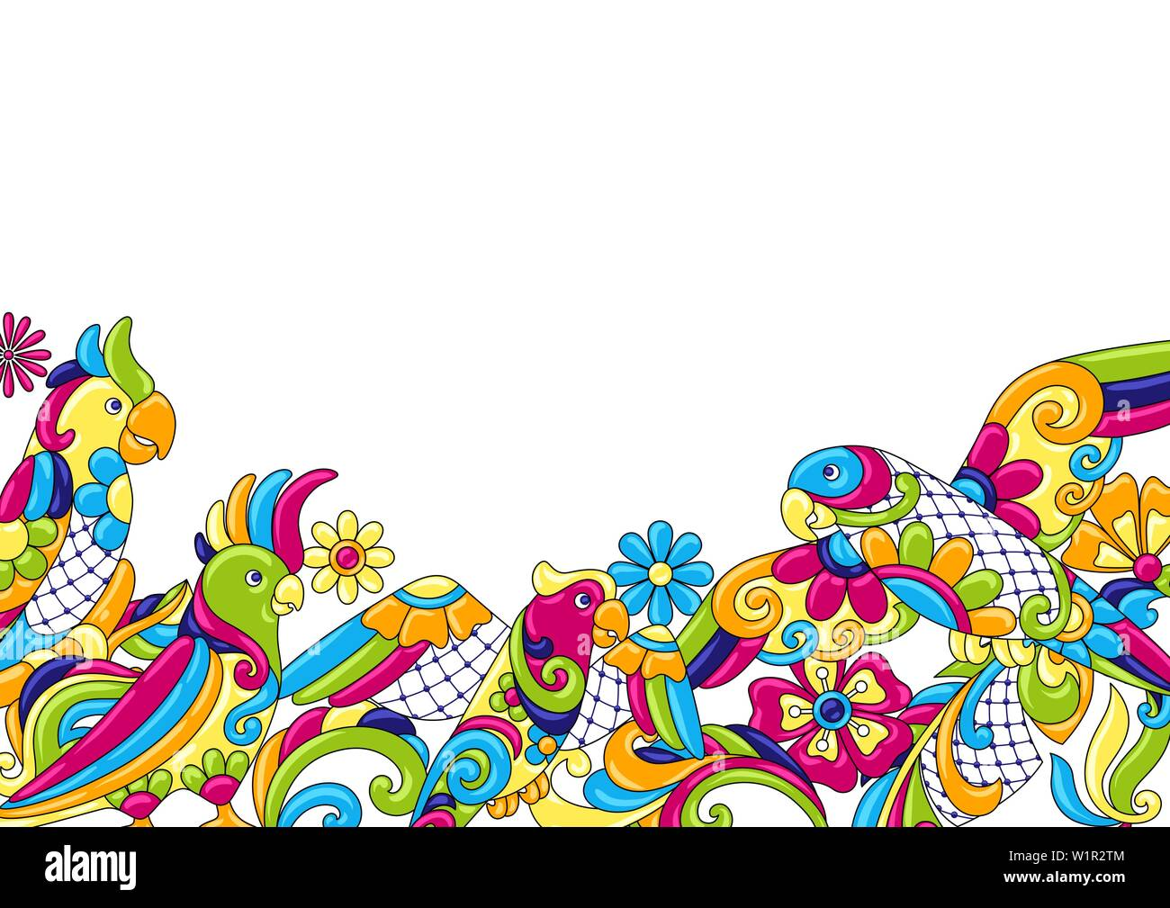 Background with tropical parrots. Mexican ceramic cute naive art. - Stock Vector