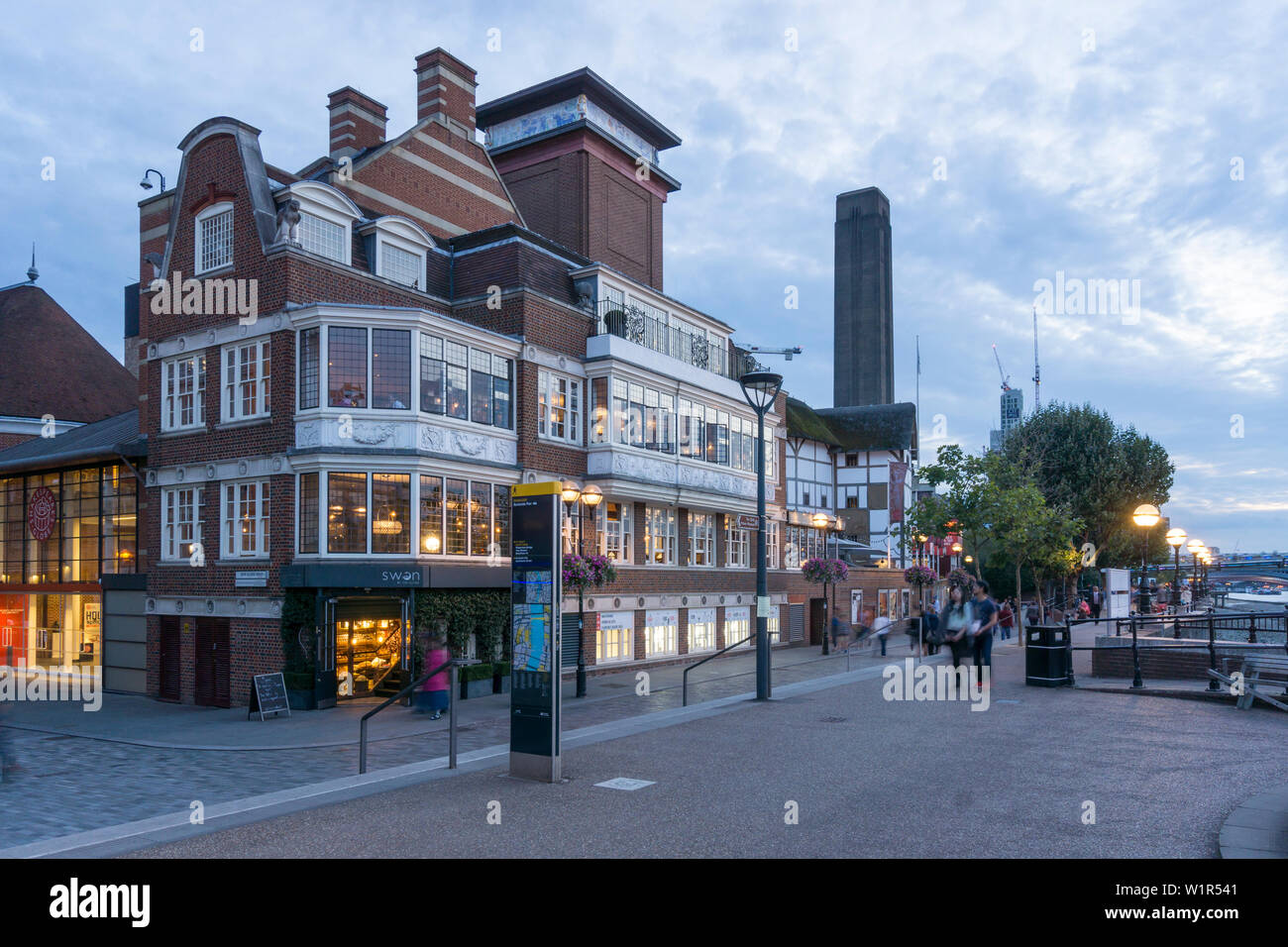 Swan Pub near Tate Gallery, Riverside Thames, London, UK - Stock Image
