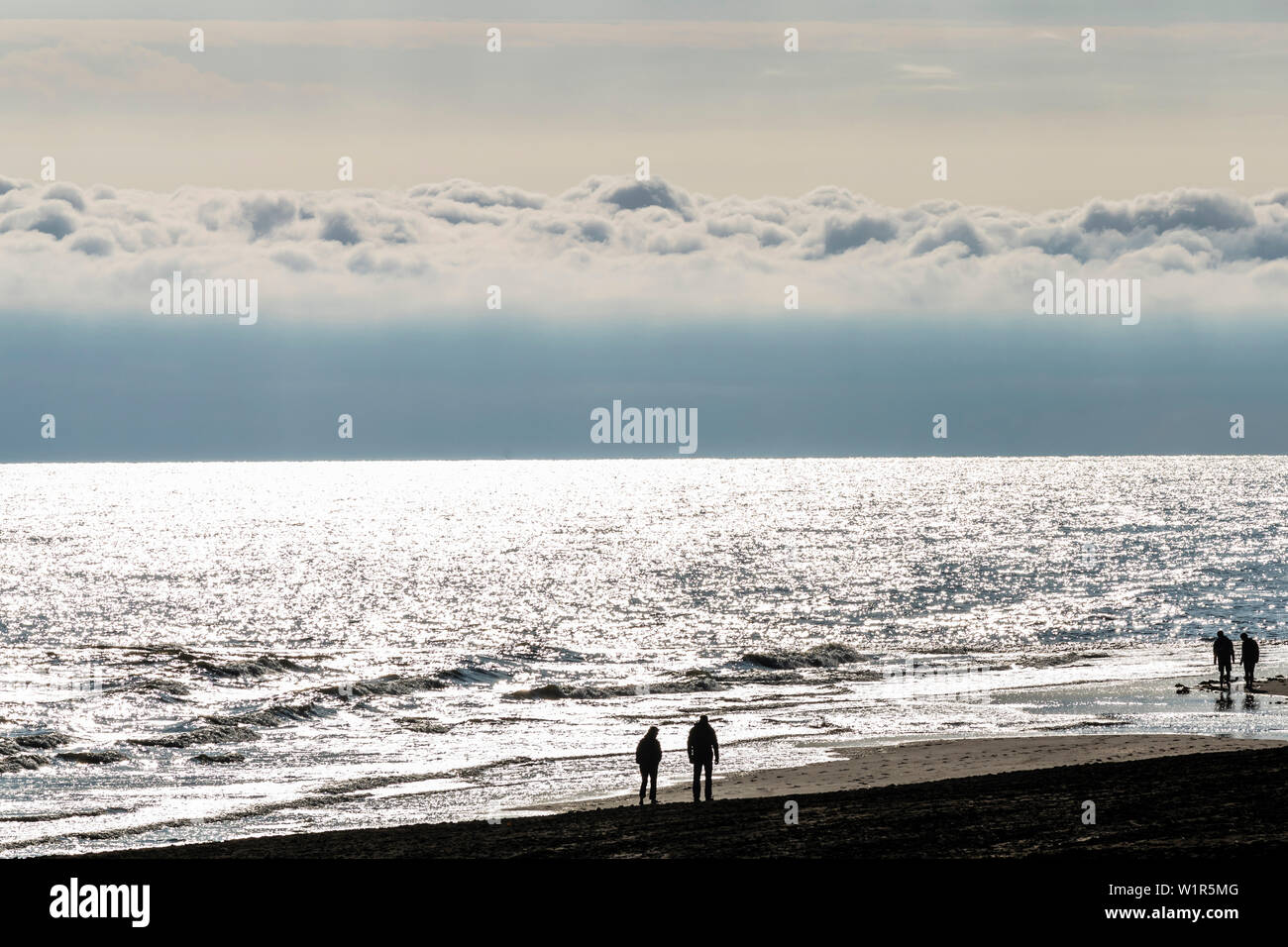 Beach walker after sunrise, Wangerooge, East Frisia, Lower Saxony, Germany Stock Photo