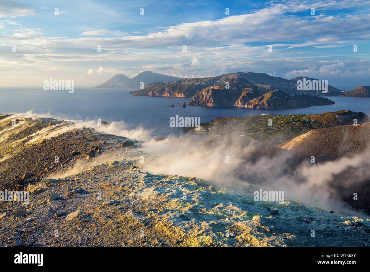Sulfur on the crater rim of Gran Cratere, view from Vulcano Island to Salina and Lipari, Lipari Islands, Aeolian Islands, Tyrrhenian Sea, Mediterranea Stock Photo