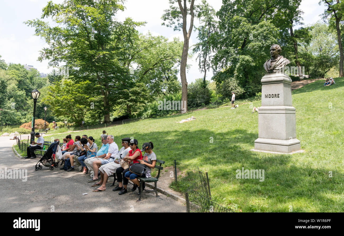 Bust Of Thomas Moore Central Park New York USA - Stock Image
