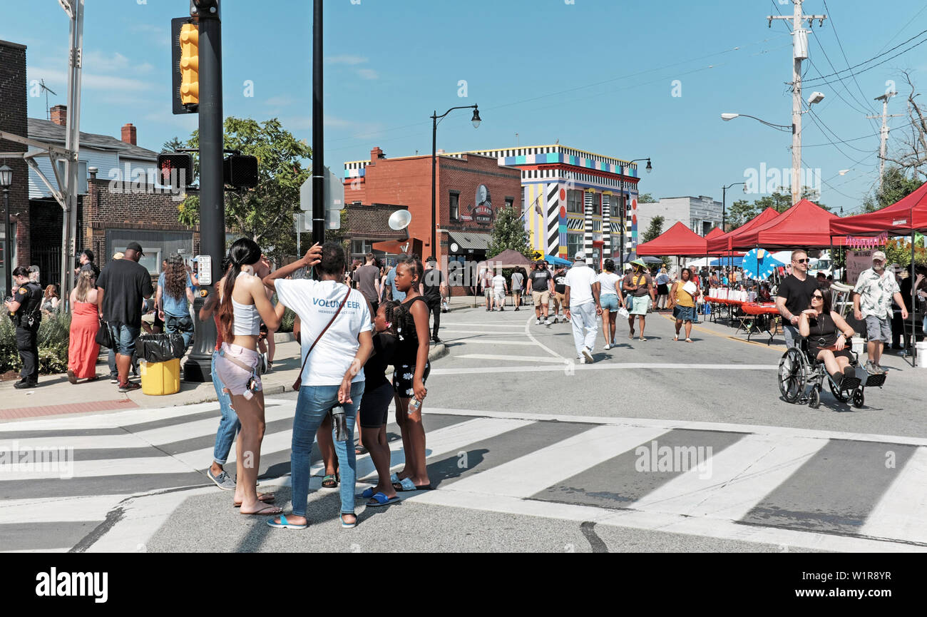 The 17th Annual Waterloo Arts Festival in the artsy Collinwood neighborhood in Cleveland, Ohio, USA attracts a diverse crowd. - Stock Image