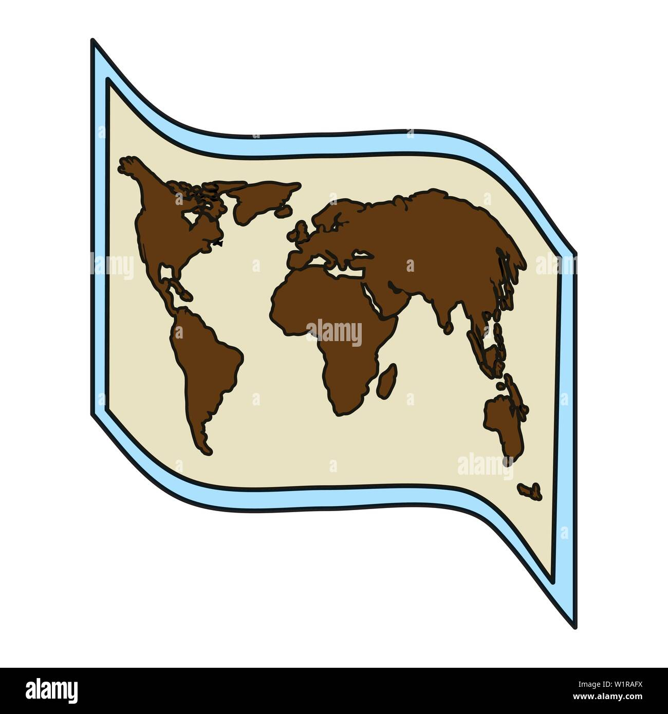 world map paper guide icon - Stock Image