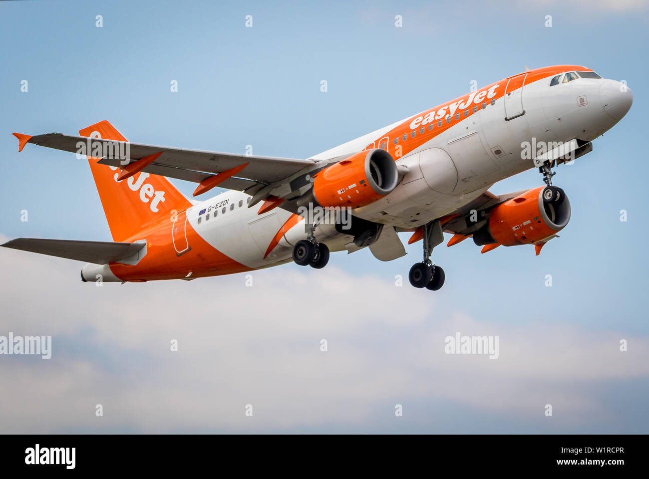 Aircraft taking off from London Gatwick Airport  UK. - Stock Image