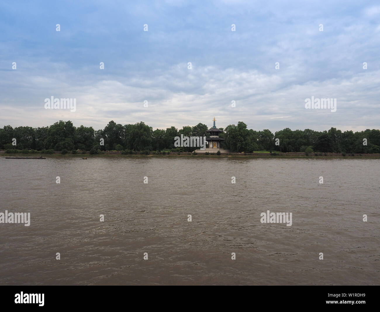 Japanese Buddhist Peace Pagoda temple in Battersea Park by the River Thames London in London, UK - Stock Image