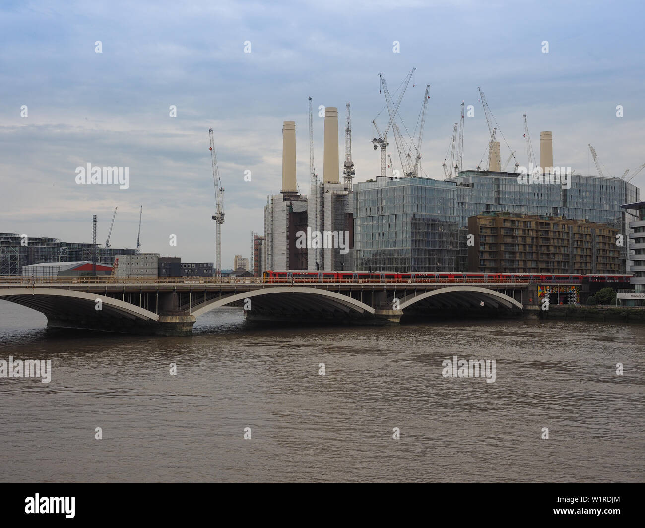 LONDON, UK - CIRCA JUNE 2019: Panoramic view of River Thames with Battersea Power Station and Victoria Bridge seen from Chelsea Bridge - Stock Image