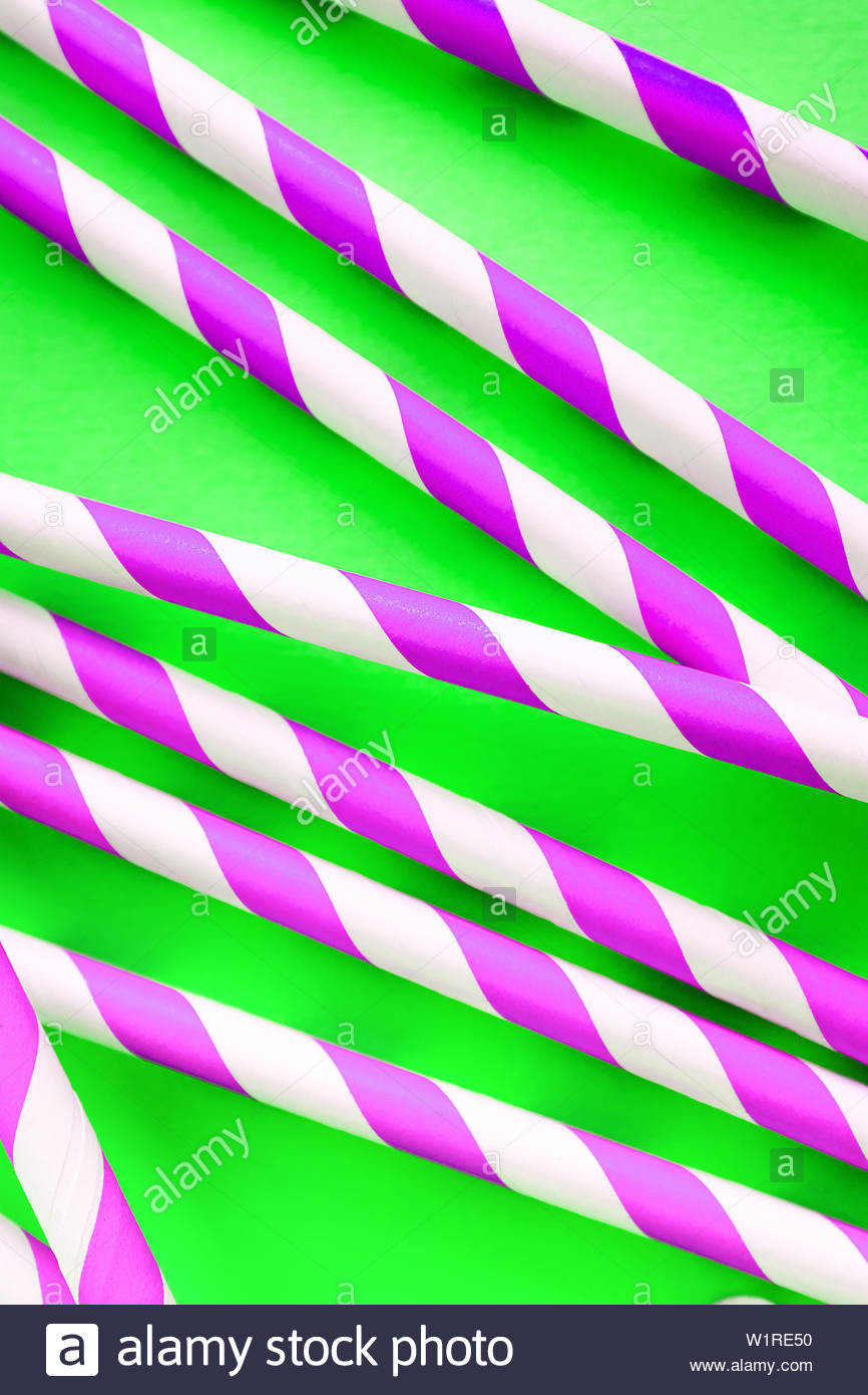 Colored, reusable, paper, striped, pink, straws for drinking