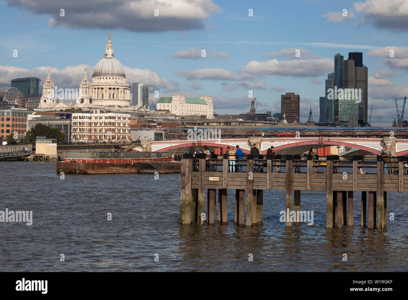 St Pauls cathedral and the city of London from the southbank, London,uk - Stock Image