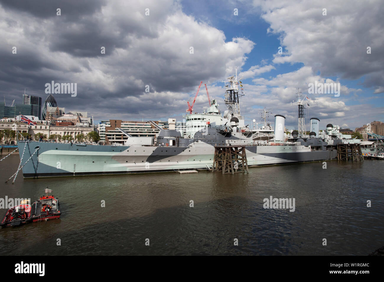 HMS Belfast, museum ship moored on the River Thames, London - Stock Image
