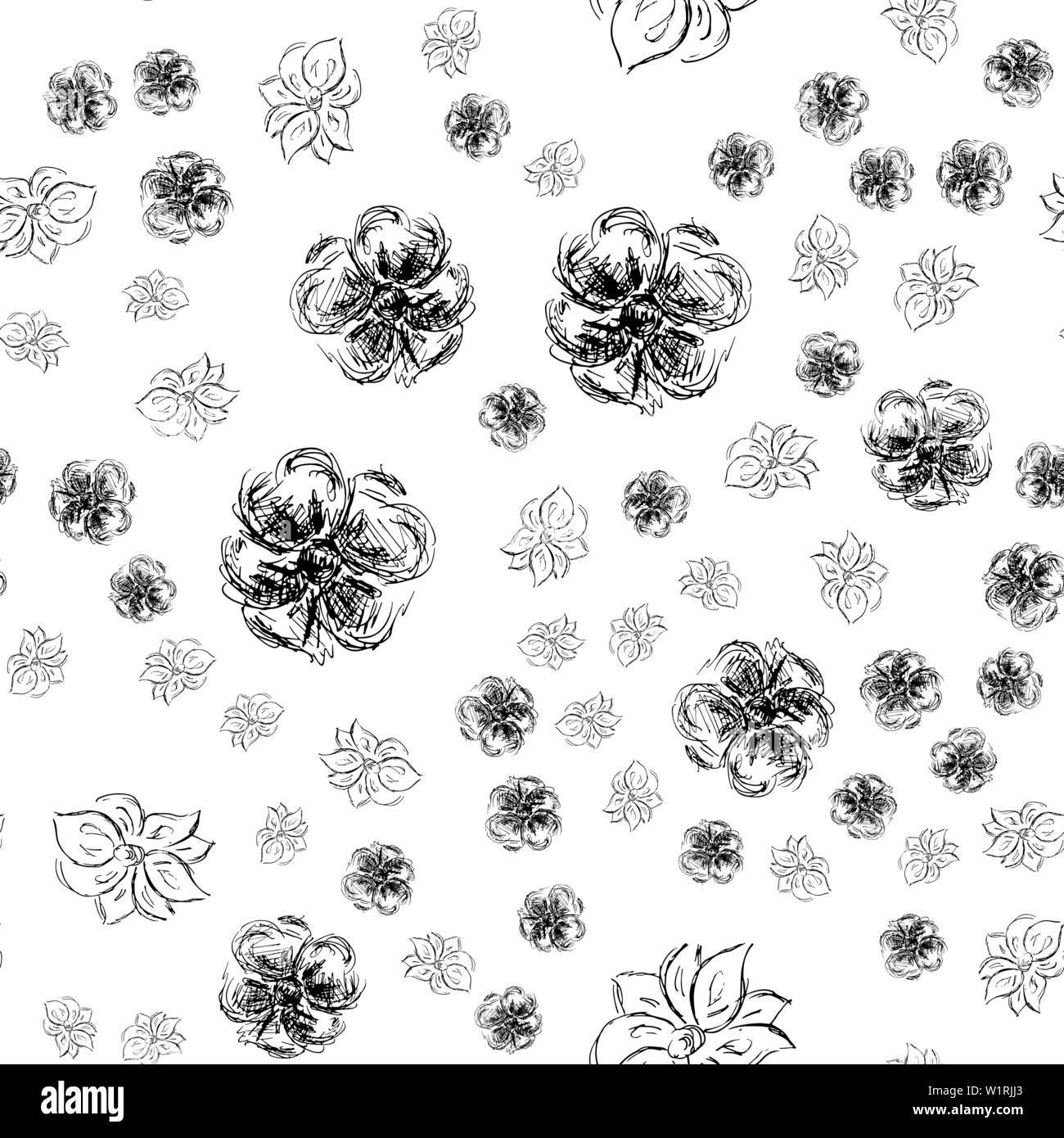 Seamless Hand Drawn Pattern Of Abstract Rose Flowers