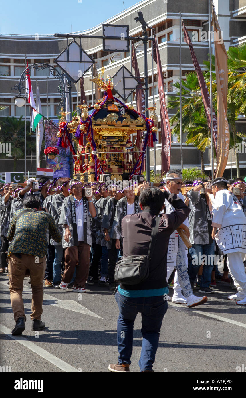 Mikoshi parade from Japan in Asia Africa Festival 2019 - Stock Image