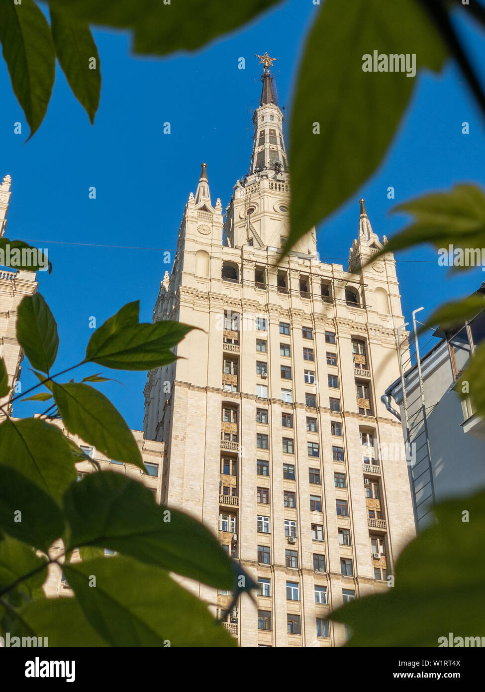 Moscow, Russia - May 20, 2019: The Kudrinskaya Square Building is a building in Moscow, one of seven Stalinist style skyscrapers Stock Photo