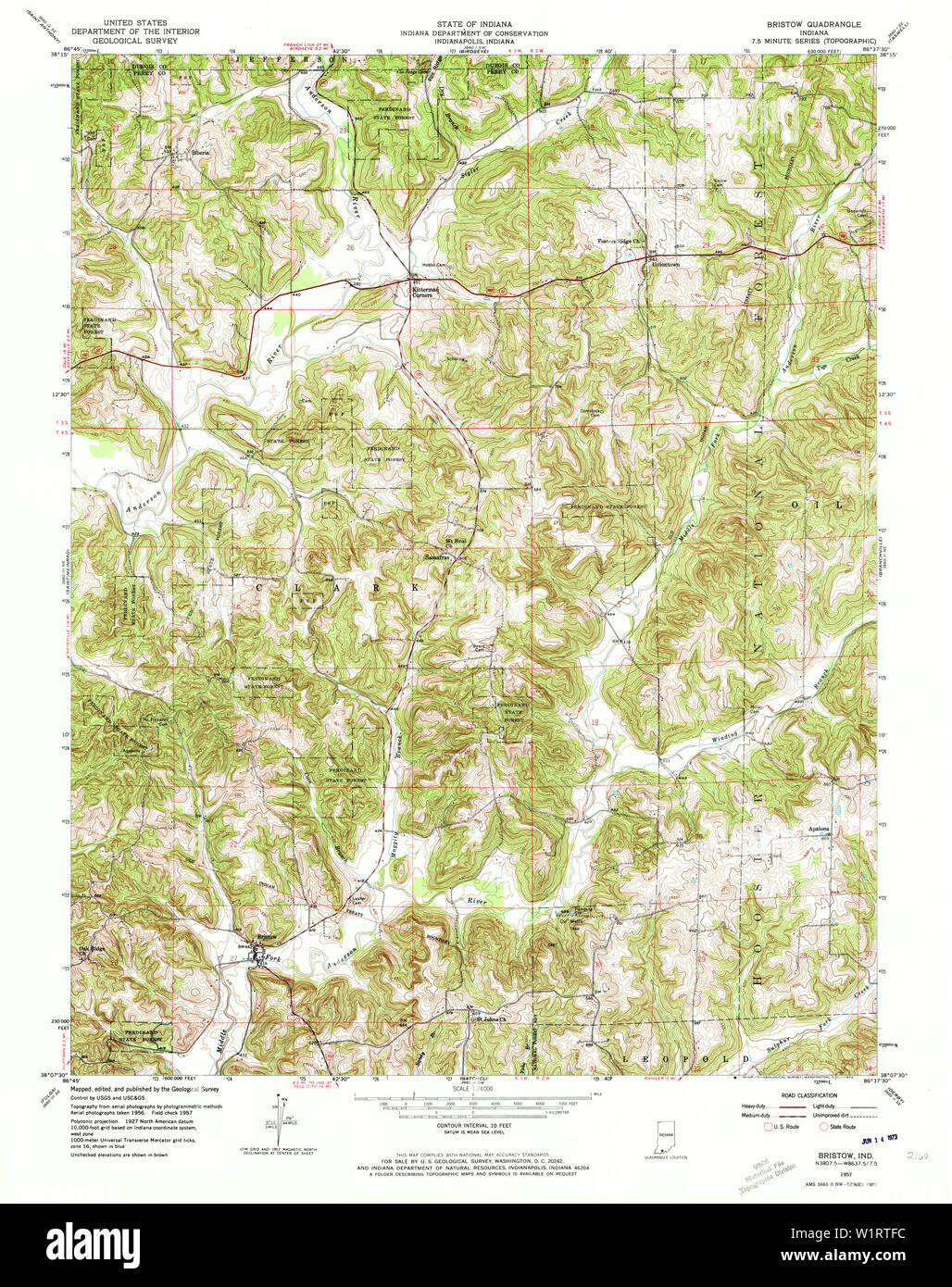 USGS TOPO Map Indiana IN Bristow 156311 1957 24000 ...