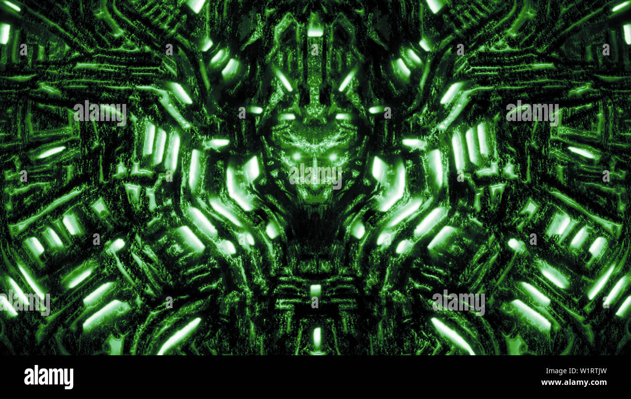 Cyber wall with bas-relief and protruding robot head. Glowing lamps and mechanisms. Illustration in genre of science fiction. Green color background. - Stock Image