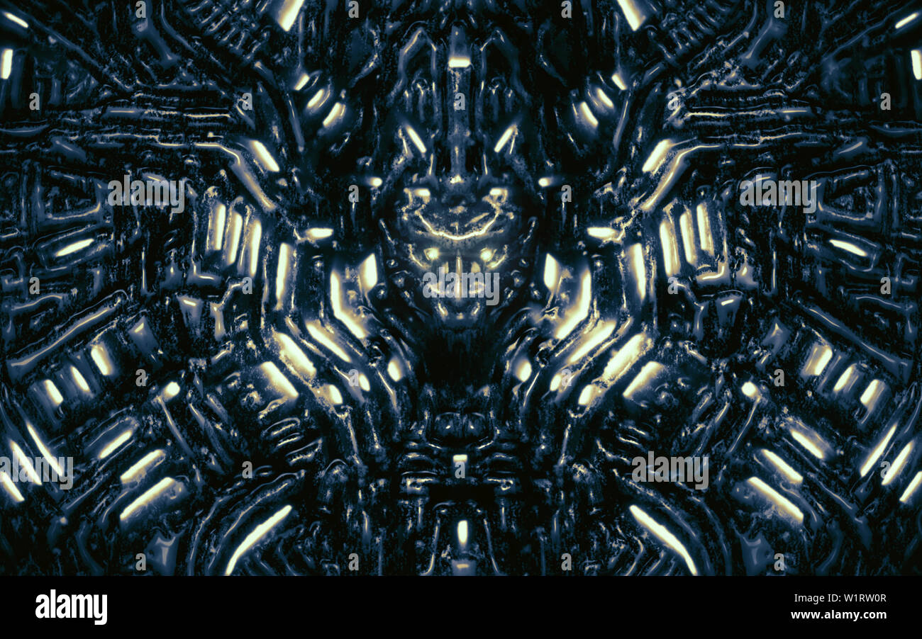 Electronic wall with bas-relief and protruding robot head. Glowing lamps and mechanisms under water. Illustration in genre of science fiction. Blue co - Stock Image